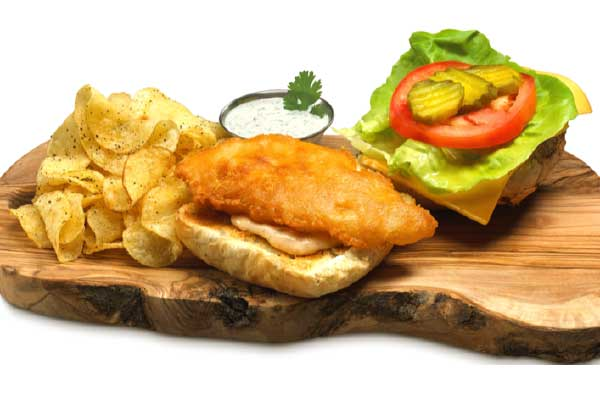 Eastern Fish Battered Pollock on Brioche & Homemade Chips